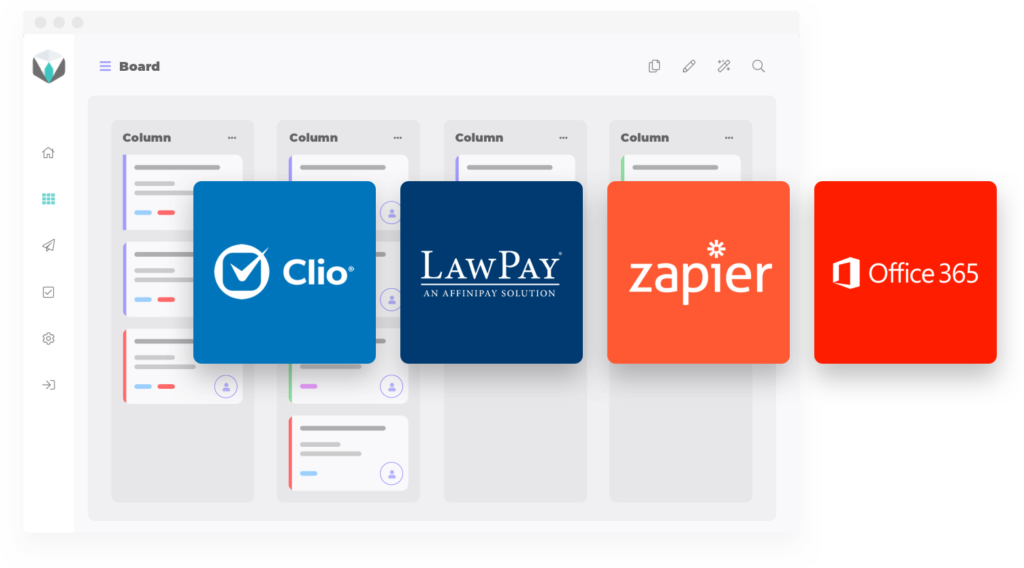 Integrations of Legalboards- Clio, LawPay, Zapier, and Office 365